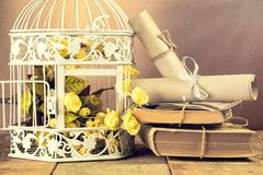 White bird cage, books, papers and flowers Royalty Free Stock Image