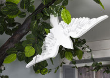 White bird handmade toy stock photos