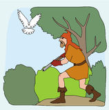 A hunter and bird in the forest illustration Royalty Free Stock Photography