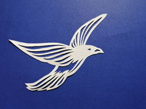 White bird. Paper cutting. Stock Photography