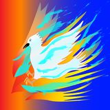 The white bird puts out the fire with water. Abstraction. Vector Illustration Stock Photo