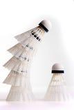 White birdies. For game in badminton on a white background royalty free stock photo