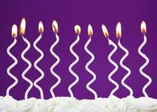 White birthday candles Stock Photo