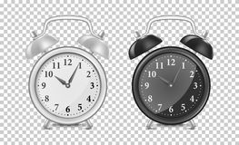 White and black alarm clock icon set. Design template closeup in vector. Mock-up for branding and advertise  on. White and black alarm clock icon set. Design Stock Photo