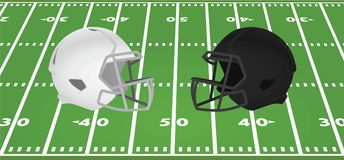 White and black american football helmet in front of field. Vector illustration Stock Photography
