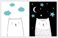 Set of Two Lovely Nursery Vector Arts. White Abstract Hand Drawn Cats. White and Black Background. White Moon and Stars on a Black. Blue Clouds on a White royalty free illustration