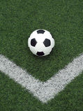 White and black ball for playing soccer in corner Stock Images