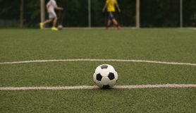White and black ball for playing soccer and playing sportsmens Stock Photo