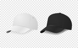 White and black baseball cap icon set. Design template closeup in vector. Mock-up for branding and advertise  on Royalty Free Stock Photos