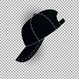 White and black baseball cap icon set. Front view. Design template closeup in . Mock-up for branding and advertise isolated Royalty Free Stock Images