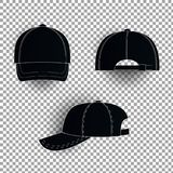 White and black baseball cap icon set. Front view. Design template closeup in . Mock-up for branding and advertise isolated Royalty Free Stock Photo