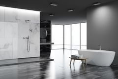 White and black bathroom corner, tub. White and black marble luxury bathroom corner with a shower stall and a sink with a round mirror. A white tub. 3d rendering royalty free illustration