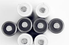 White And Black Batteries Closeup Stock Images