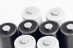 White And Black Batteries Closeup Royalty Free Stock Images
