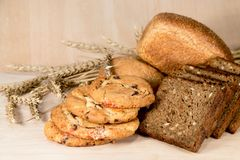 White black bread and cookies with grain Stock Photo