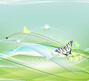 White and black butterfly flying on an abstract background Royalty Free Stock Photo