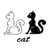 White and black cats. Two silhouettes of cats isolated on white background, illustration Royalty Free Stock Image