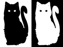 White and black cats. Vector background Stock Photography