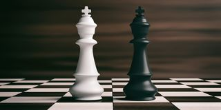 White and black chess kings on a chessboard. 3d illustration. White and black chess kings on a chess board, brown wooden background. 3d illustration Stock Image