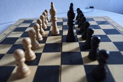 White and black chess kings and pawns on chessboard stock image