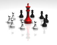 White and black chess pawns figurines team concept illustration Royalty Free Stock Images