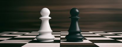 White and black chess pawns on a chessboard. 3d illustration. White and black chess pawns soldiers on a chessboard. 3d illustration Stock Photos