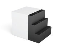 White-black chest of drawers isolated on a white background. 3d Royalty Free Stock Image
