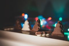 white and black chocolate form of christmas tree stock image