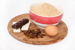 White and black chocolate, raisins, egg and ground biscuit cake Stock Image
