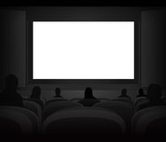 White black cinema screen with spectators in auditorium  Royalty Free Stock Photos