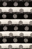 White and black circles, parallel stripes. White and black textile with circles and horizontal parallel stripes Stock Images