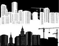 White and black city landscapes Stock Photos