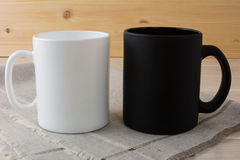 White and black coffee mug mockup Stock Image