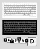White and black computer keys. White and black computer keysboard illustration Royalty Free Stock Photo