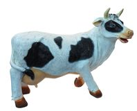 White and black cow toy figurine isolated.  Stock Image