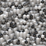 White And Black Cubes Background. 2D rendered image simulating 3D cubes Stock Photography