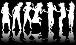 White and black, dancing girl Royalty Free Stock Images