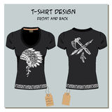 White and black design girl's T-shirts, with the label, vector. Royalty Free Stock Photo