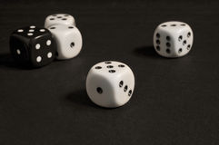 White and black dices Royalty Free Stock Photos