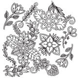 White and black doodle floral set. Royalty Free Stock Photo