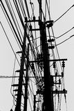 White and black Electric pole. And sky in Thailand Royalty Free Stock Photos