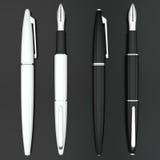 White and black fountain pens mockup on dark Royalty Free Stock Photos