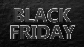 White black friday neon sign, on dark brick wall. Royalty Free Stock Images