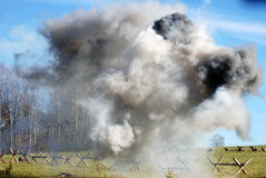 White and black fume on the battlefield Stock Photo
