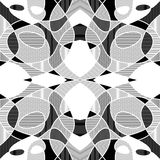 White and black geometric mosaic background with hatched fragments, vector patterned tile Royalty Free Stock Photos