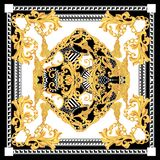 Baroque with white black gold scarf. golden elements in baroque, rococo style royalty free illustration