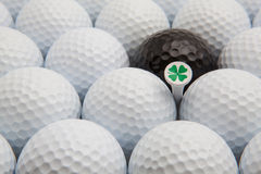 White and black golf balls and wooden tee Stock Image