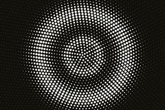 White on black halftone vector texture. Dark centered dotted gradient. Concentrated dotwork surface for vintage effect. Monochrome halftone overlay. Perforated vector illustration