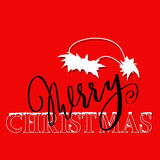 White and black hand drawn grunge lettering and christmas style font on red background. Silhouette of Santa Claus hat Royalty Free Stock Image