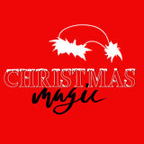 White and black hand drawn grunge lettering and christmas style font on red background. Silhouette of Santa Claus hat Stock Image